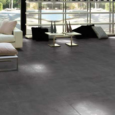 Carrelage sol aspect b ton lunare anthracite 60x60 cm for Carrelage sol interieur 60x60