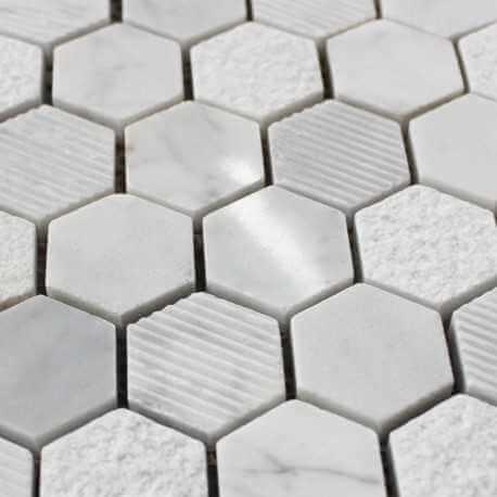 Mosaïque mur Marbre Poli Carrare Hexagone