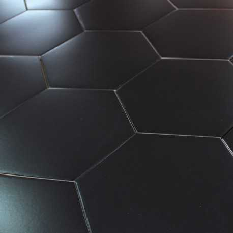 Carrelage hexagonal noir sol et mur parquet carrelage for Joint carrelage noir