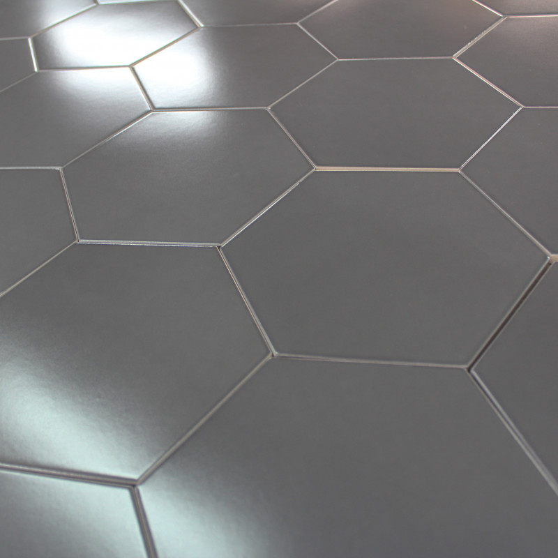 Carrelage hexagonal gris graphite sol et mur parquet for Carrelage hexagonal marbre