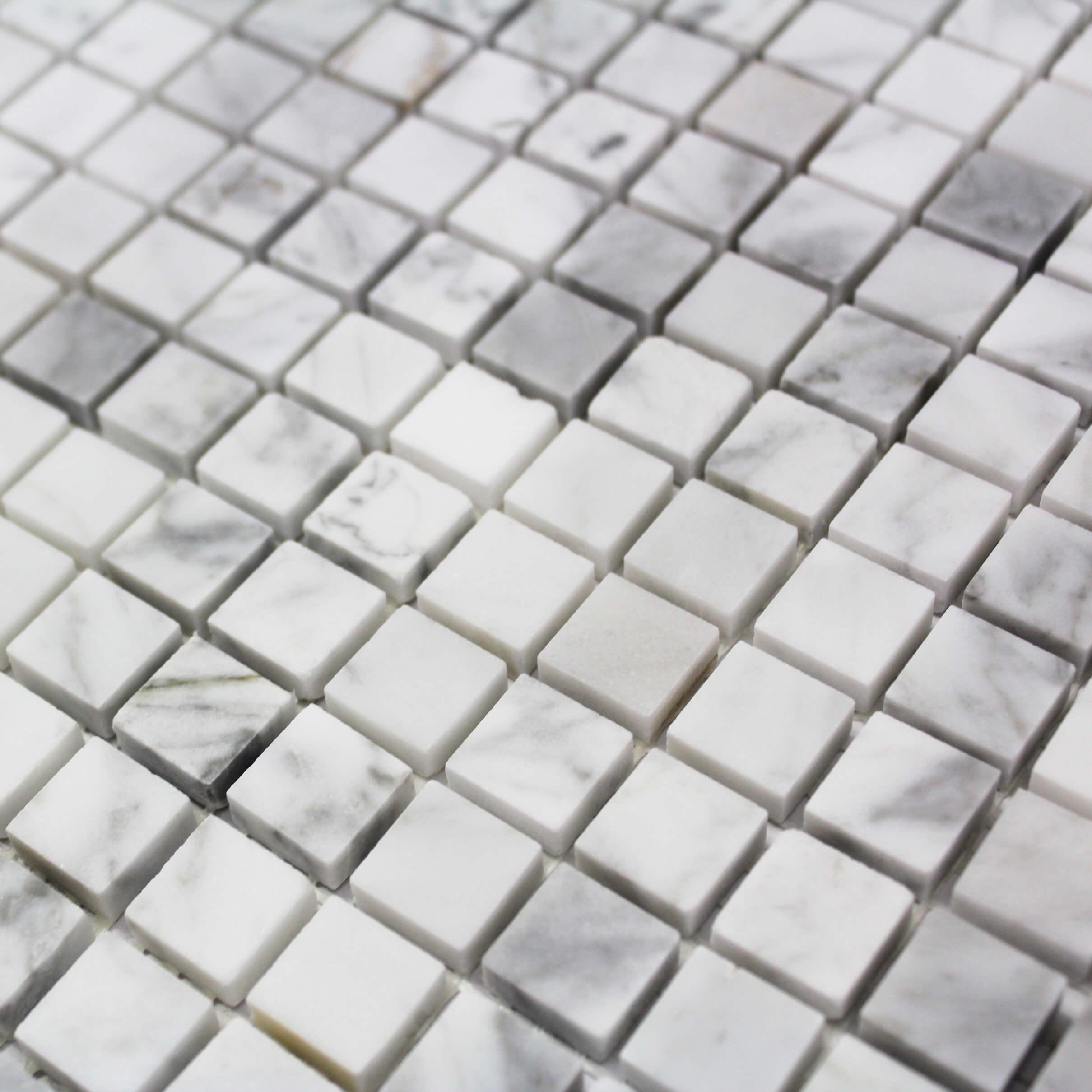 Mosaïque sol et mur Marbre Carrare Poli Blanc