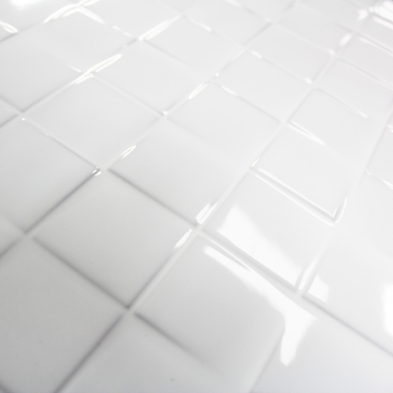 Carrelage mural cubi white glossy carrelage mosaique blanc for Carrelage faience blanc