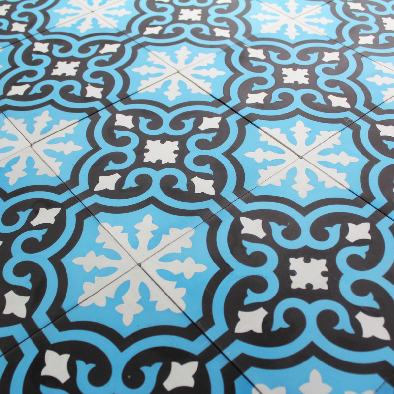 Carreau ciment deep blue baroque carrelage ciment bleu motifs d cors - Carreau ciment exterieur ...