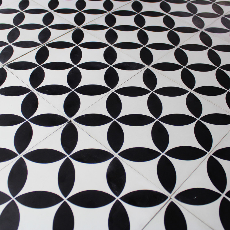 Inspiration table patio for Carrelage mosaique noir et blanc