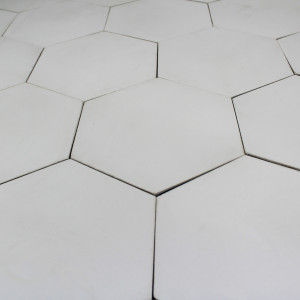 Carreau ciment hexagone blanc