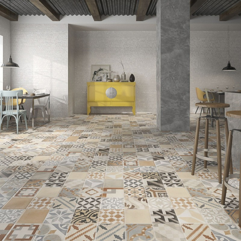 Carrelage sol aspect carreau ciment vintage mix - Carreaux de ciment mural ...