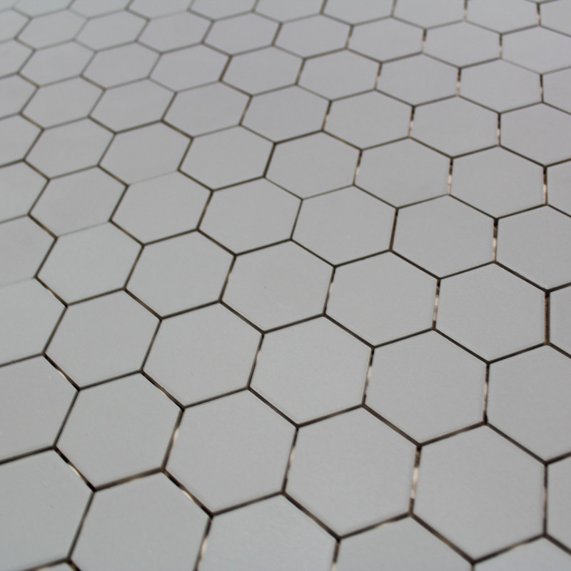 Mosa que sol mur en gr s hexagone gris carrelage mosaique for Carrelage hexagonal marbre