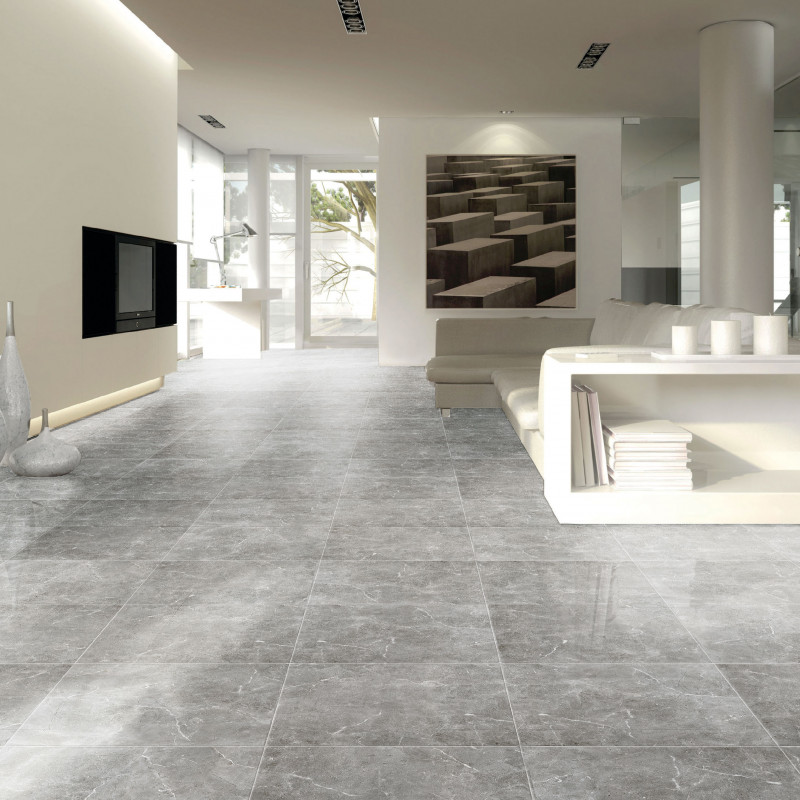Carrelage sol poli aspect belgio perla carrelage aspect for Carrelage poli brillant gris