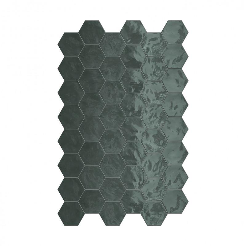 carrelage hexagonal vert glossy carrelage mural hexagone tendance. Black Bedroom Furniture Sets. Home Design Ideas
