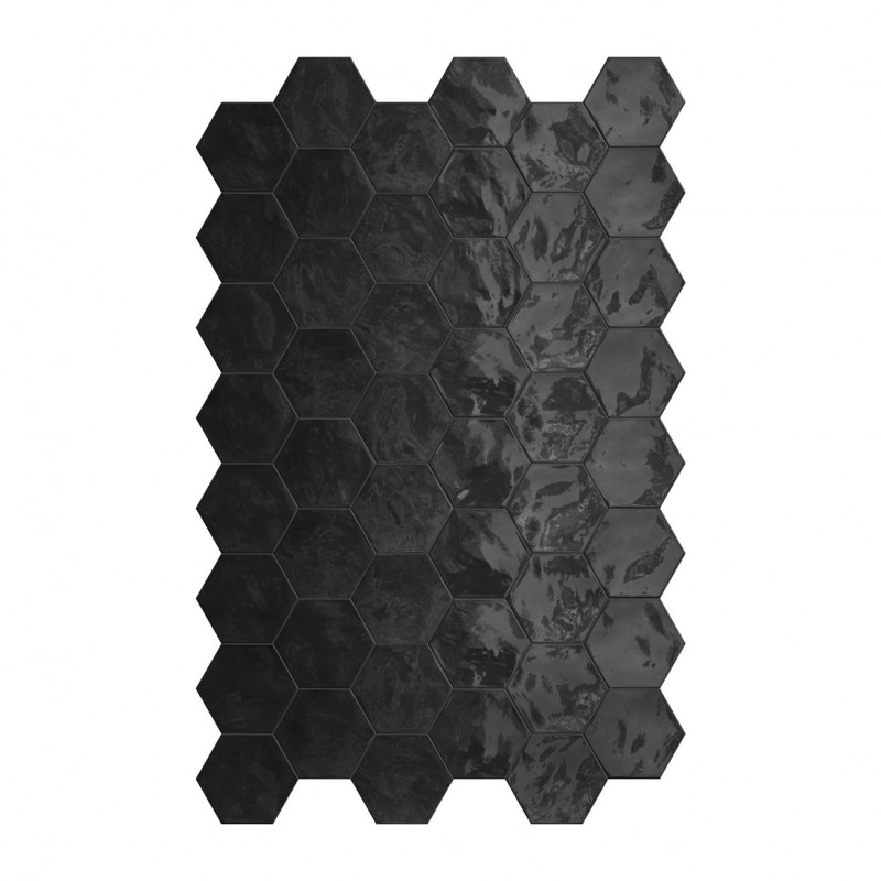 carrelage hexagonal noir glossy carrelage mural hexagone tendance. Black Bedroom Furniture Sets. Home Design Ideas