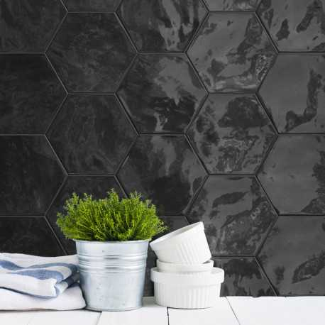Carrelage Hexagonal Noir Glossy Carrelage Mural Hexagone Tendance - Carrelage hexagonal noir