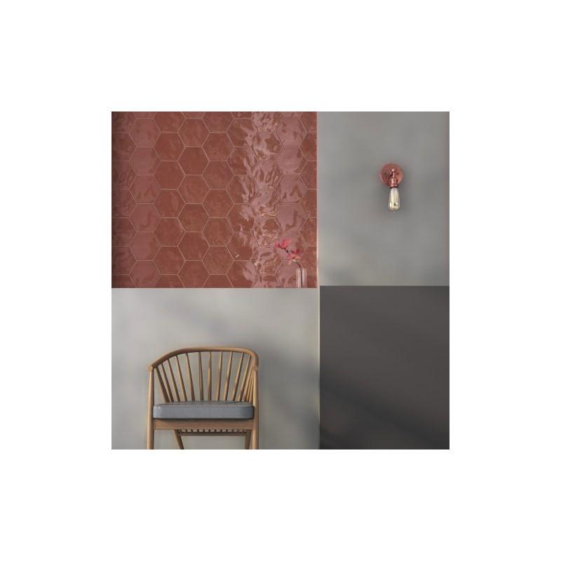 carrelage hexagonal rouge glossy carrelage mural hexagone tendance. Black Bedroom Furniture Sets. Home Design Ideas