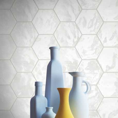 Carrelage Hexagonal Blanc Glossy Carrelage Mural Hexagone Tendance - Carrelage hexagonal blanc