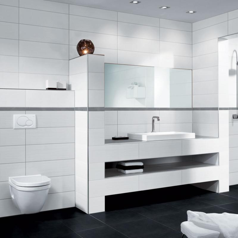 Carrelage mural blanc mat bosselé Alpes, carrelage salle de bain blanc