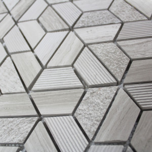 Mosaïque sol et mur Wooden Hexagone Marble