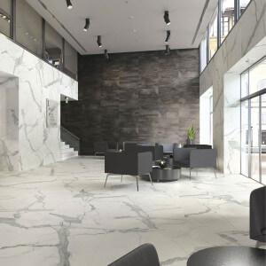 Carrelage sol aspect marbre Statuario Mate 60x120