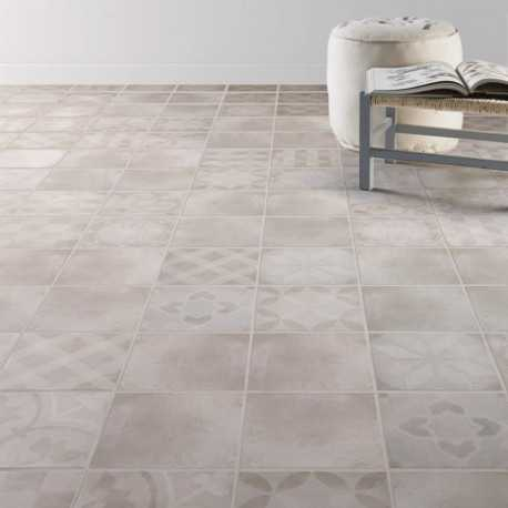 Carrelage sol aspect carreau ciment Bistro Gris Decor 20x20 cm