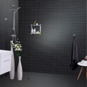 Mosaïque mur faïence brillante Saphir métro porcelaine noir