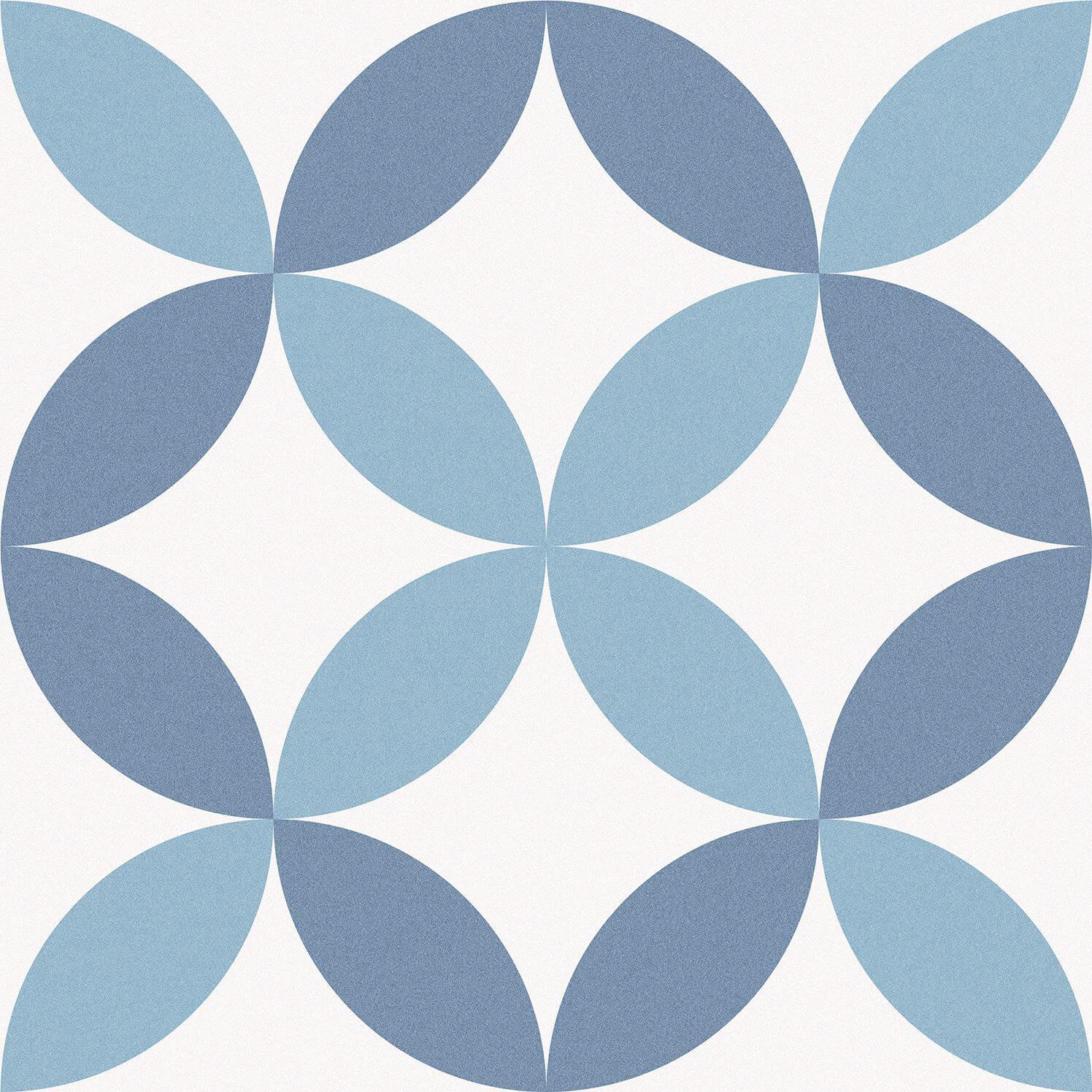 Carrelage sol et mur aspect carreau ciment multicolore bleu Barcelona Arch 25x25 cm
