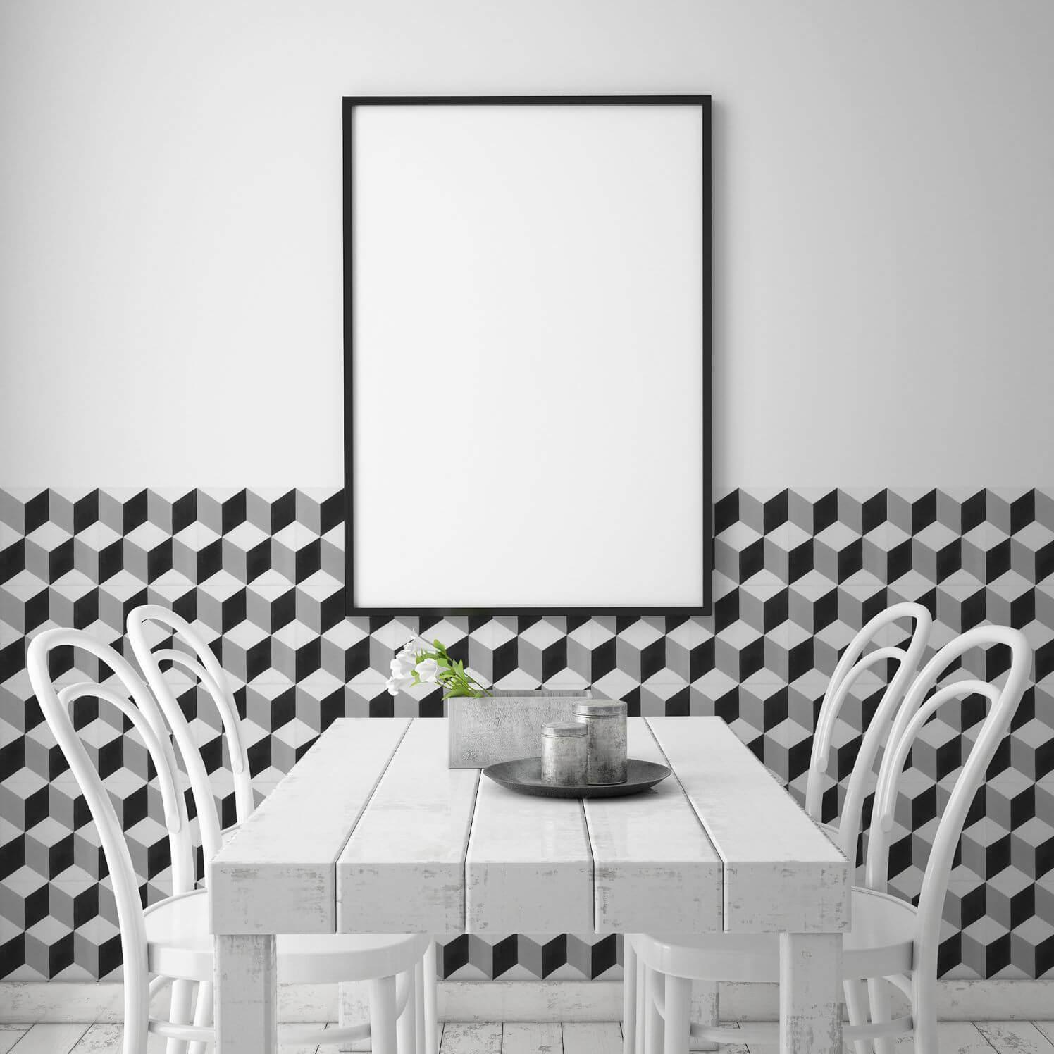 Carrelage sol et mur aspect carreau ciment noir et blanc Barcelona Cube 25x25 cm