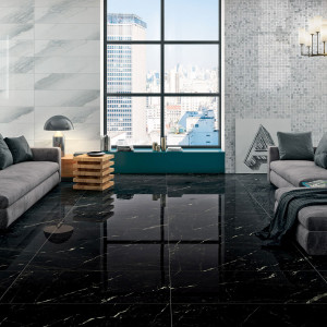 Carrelage sol et mur aspect marbre noir Hypnose Saint-Laurent brillant 60x120 cm