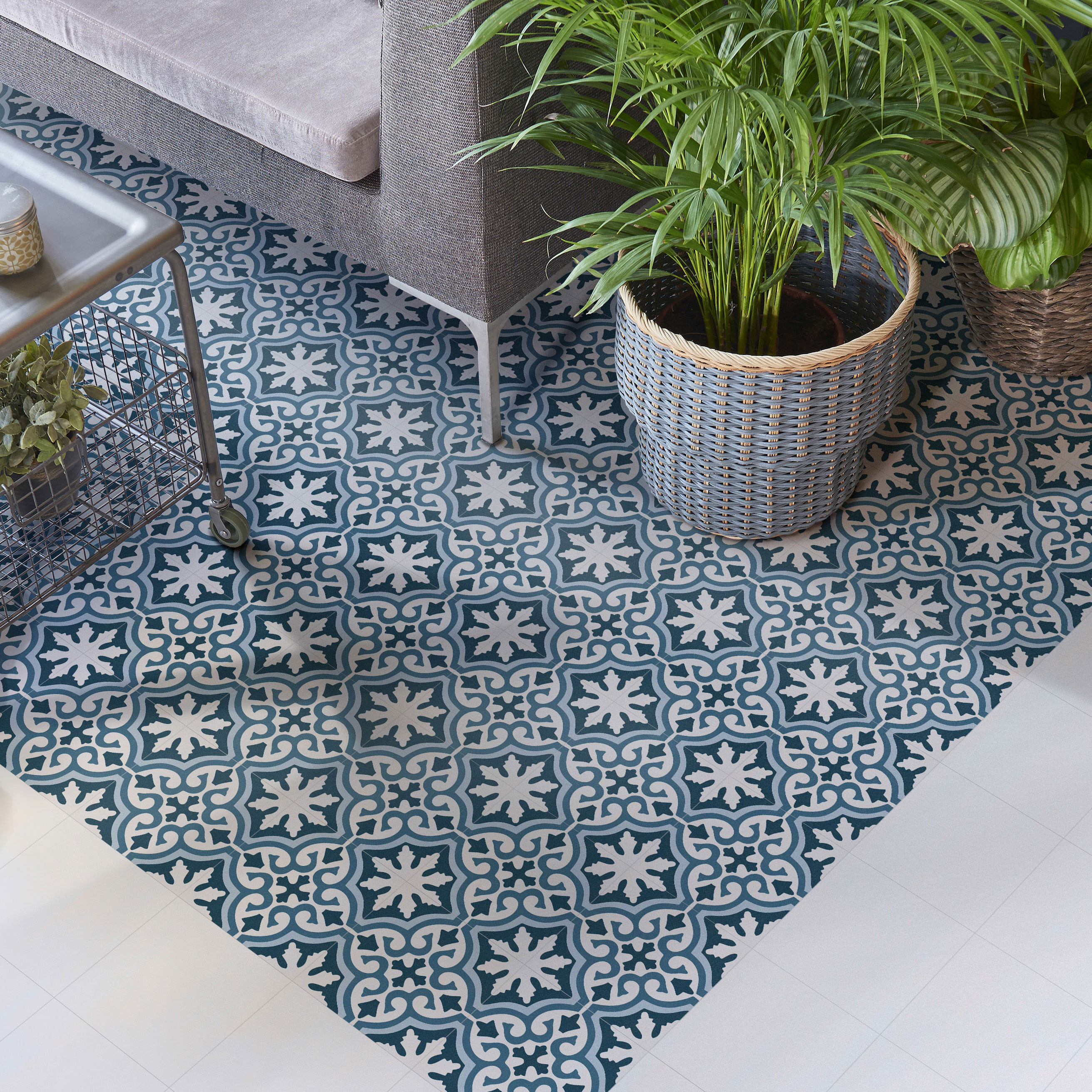 Carrelage sol et mur aspect carreau ciment multicolore bleu Valencia Lonja 25x25 cm