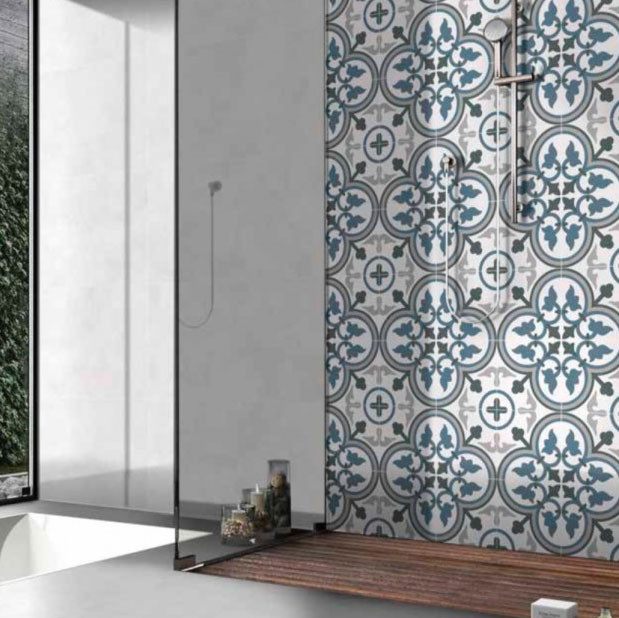 Carrelage sol et mur aspect carreau ciment multicolore bleu Valencia Sorolla 25x25 cm