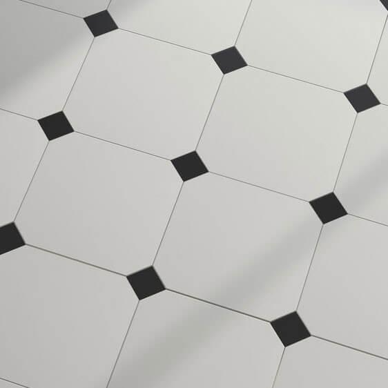 Carrelage sol et mur octogonal blanc et noir à cabochon Eight White 20x20 cm mat