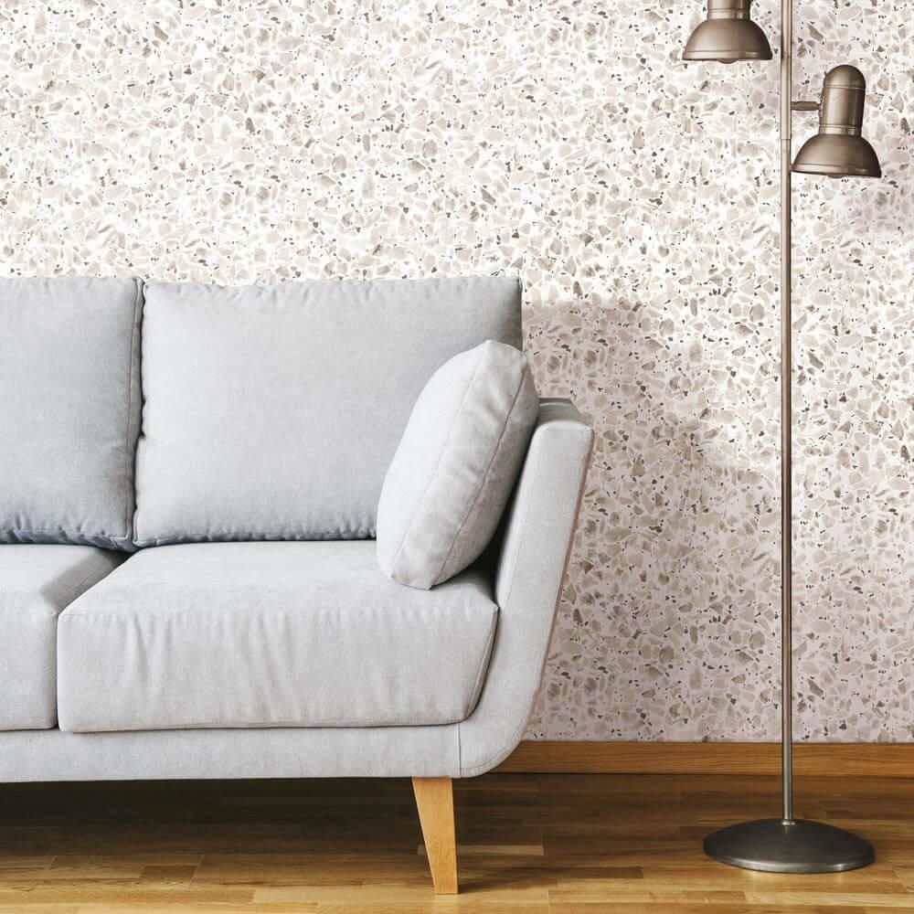 Carrelage sol et mur Terrazzo marbre naturel blanc beige et marron 60x60 cm adouci rectifié (BA025)
