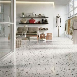 Carrelage sol et mur Terrazzo marbre naturel blanc gris noir et vert Lime 40x40 cm adouci rectifié