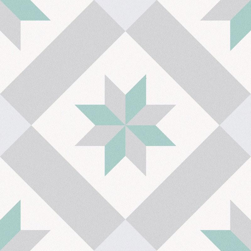 Carrelage sol et mur aspect carreau ciment multicolore vert Barcelona Star 25x25 cm