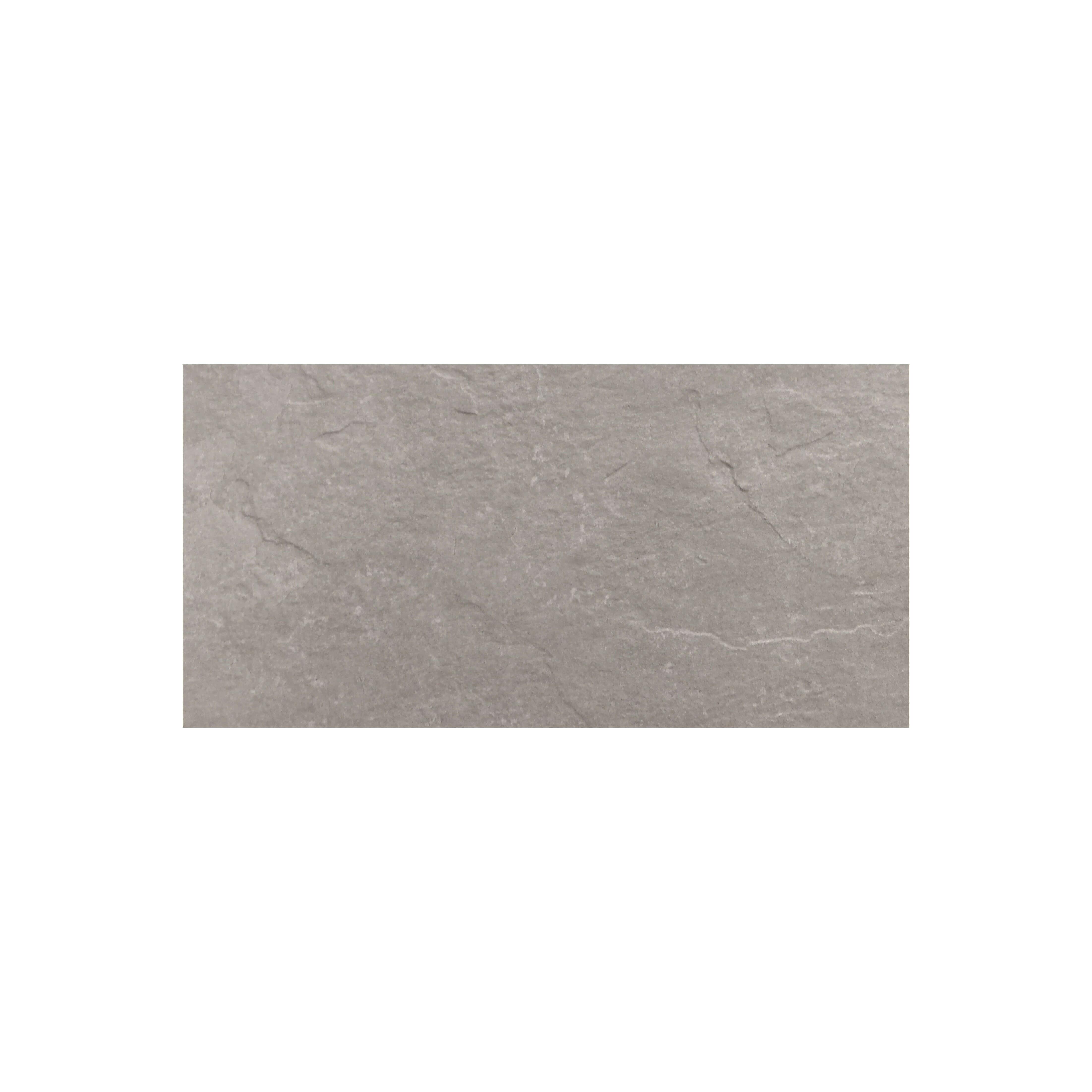 Carrelage sol et mur extérieur aspect ardoise Brio Gris antidérapant 30x60 cm