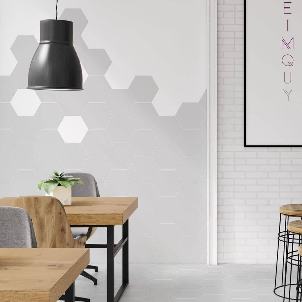 Carrelage hexagonal sol et mur Element Gris Clair mat aspect tomette 23x27 cm