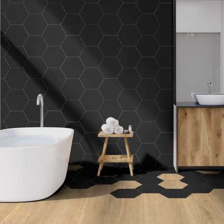Carrelage hexagonal sol et mur Element Noir mat aspect tomette 23x27 cm