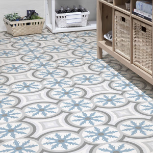 Carrelage sol et mur aspect carreau ciment multicolore bleu Barcelona Mar 25x25 cm