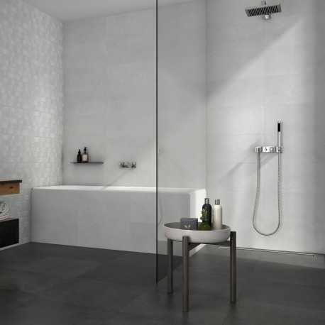 Carrelage sol et mur aspect béton gris clair Public White 30x60 cm