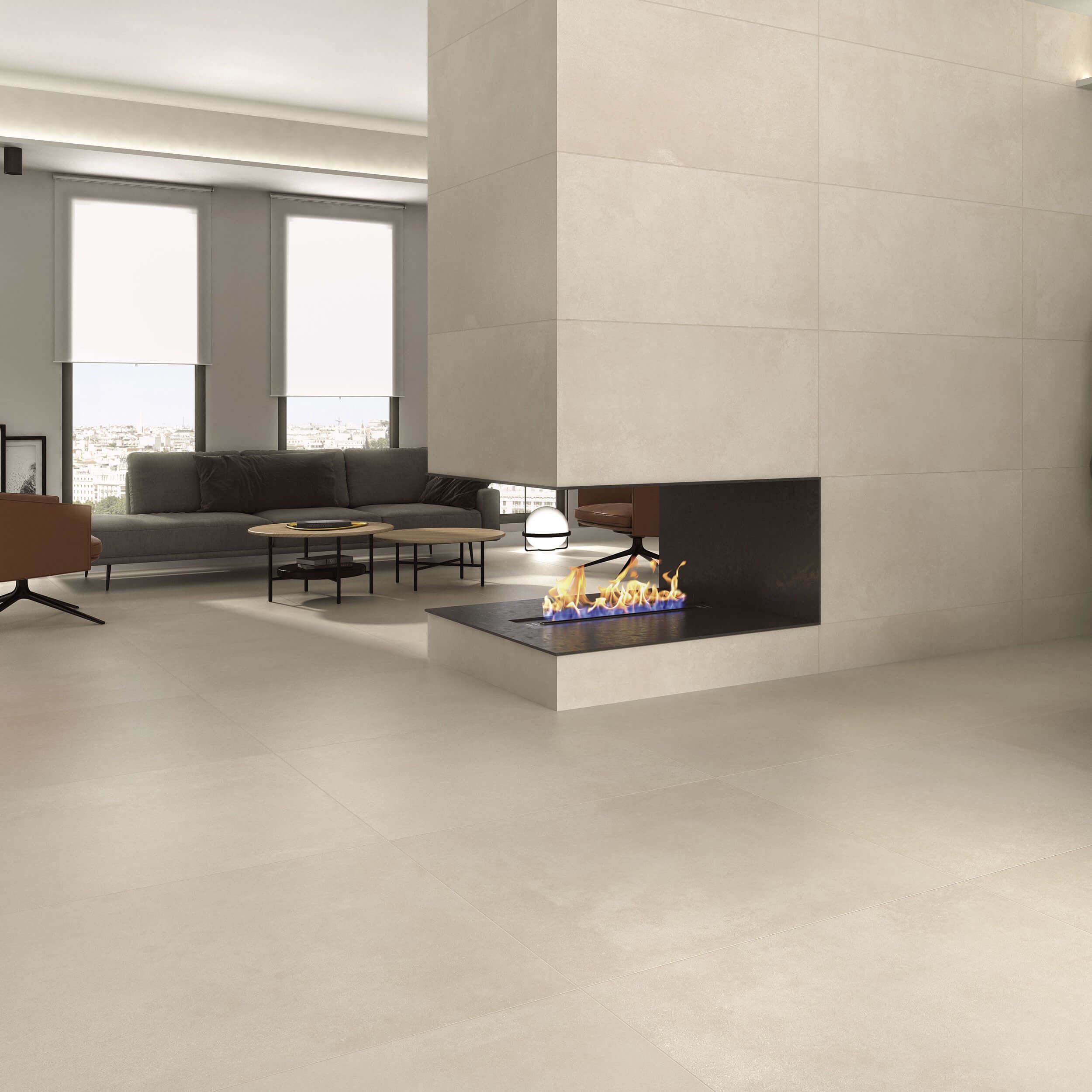 Carrelage sol et mur aspect béton beige Public Bone 60x60 cm rectifié