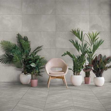 Carrelage sol et mur aspect pierre gris Leccese Fumo 60x120 cm rectifié
