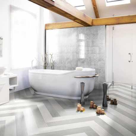 Carrelage sol et mur aspect parquet naturel Beton Wood White 15x90 cm rectifié