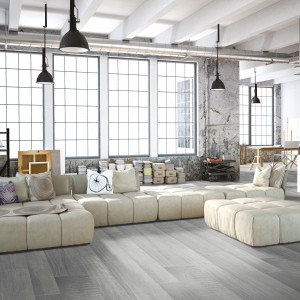 Carrelage sol et mur aspect parquet naturel Beton Wood Grey 15x90 cm rectifié