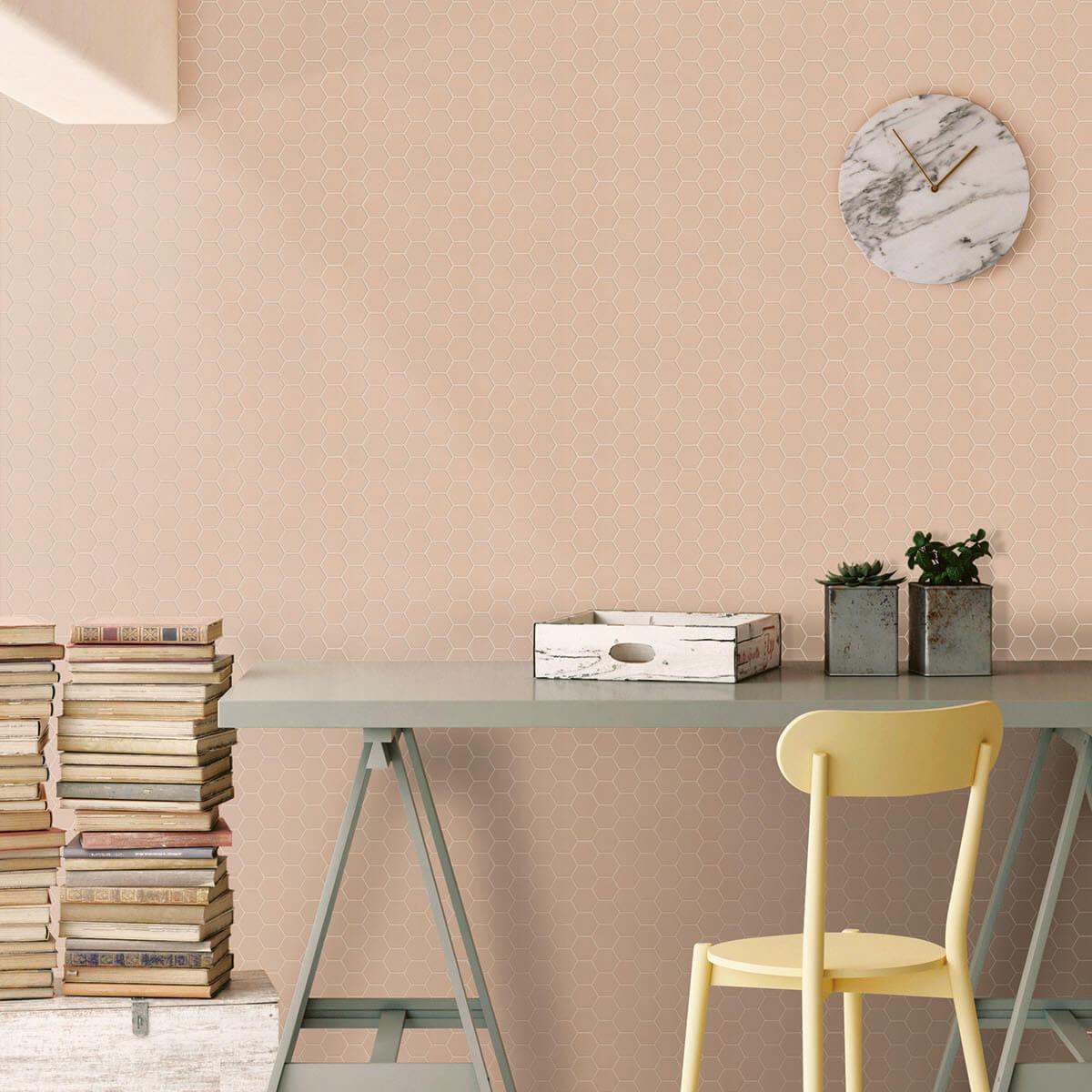 Mosaïque sol et mur Hexagonale rose Rosy Blush mat 30x30 cm