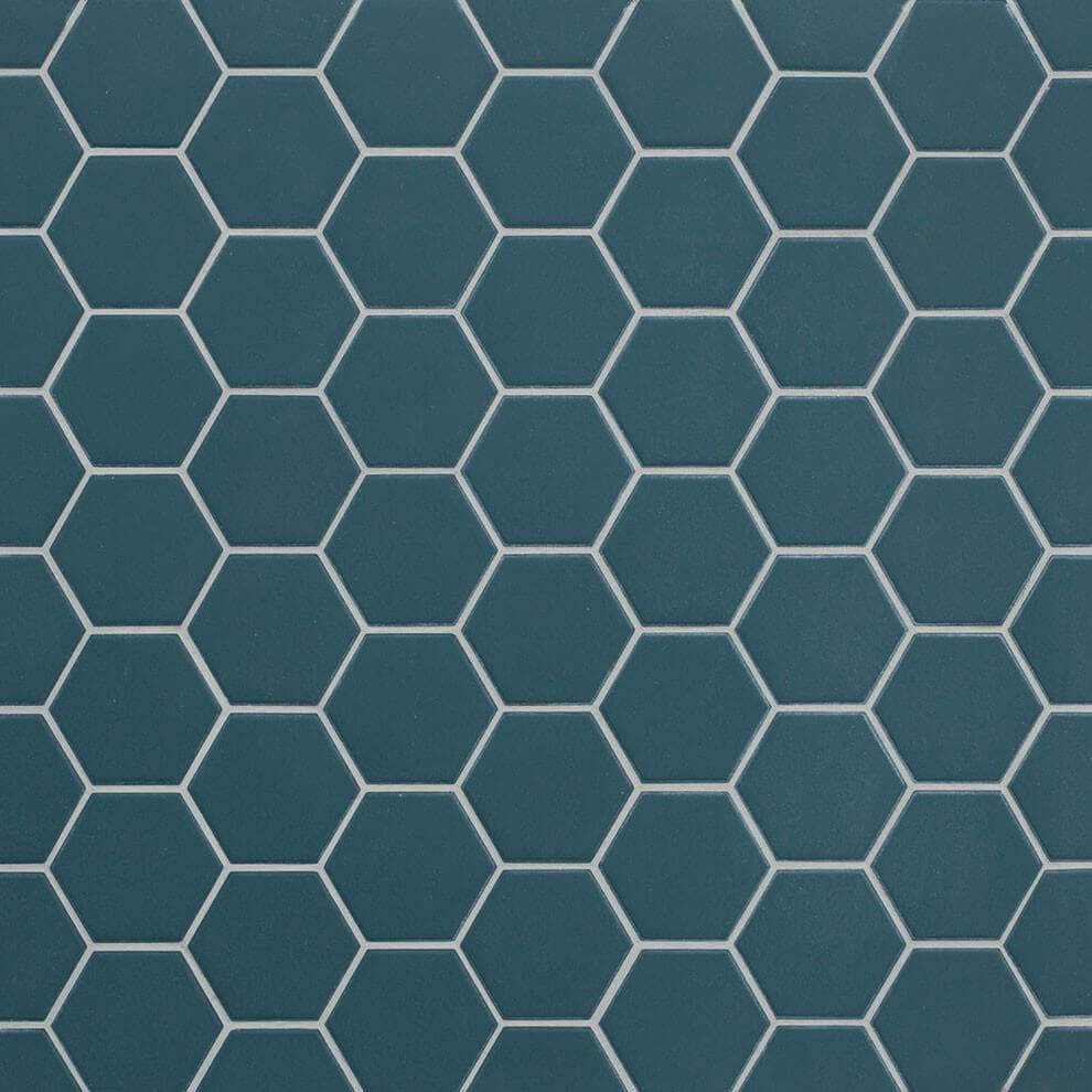 Mosaïque sol et mur Hexagonale bleu Ocean Wave mat 30x30 cm