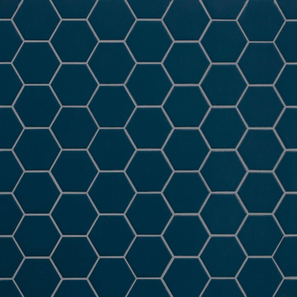 Mosaïque sol et mur Hexagonale bleu Deep Navy mat 30x30 cm