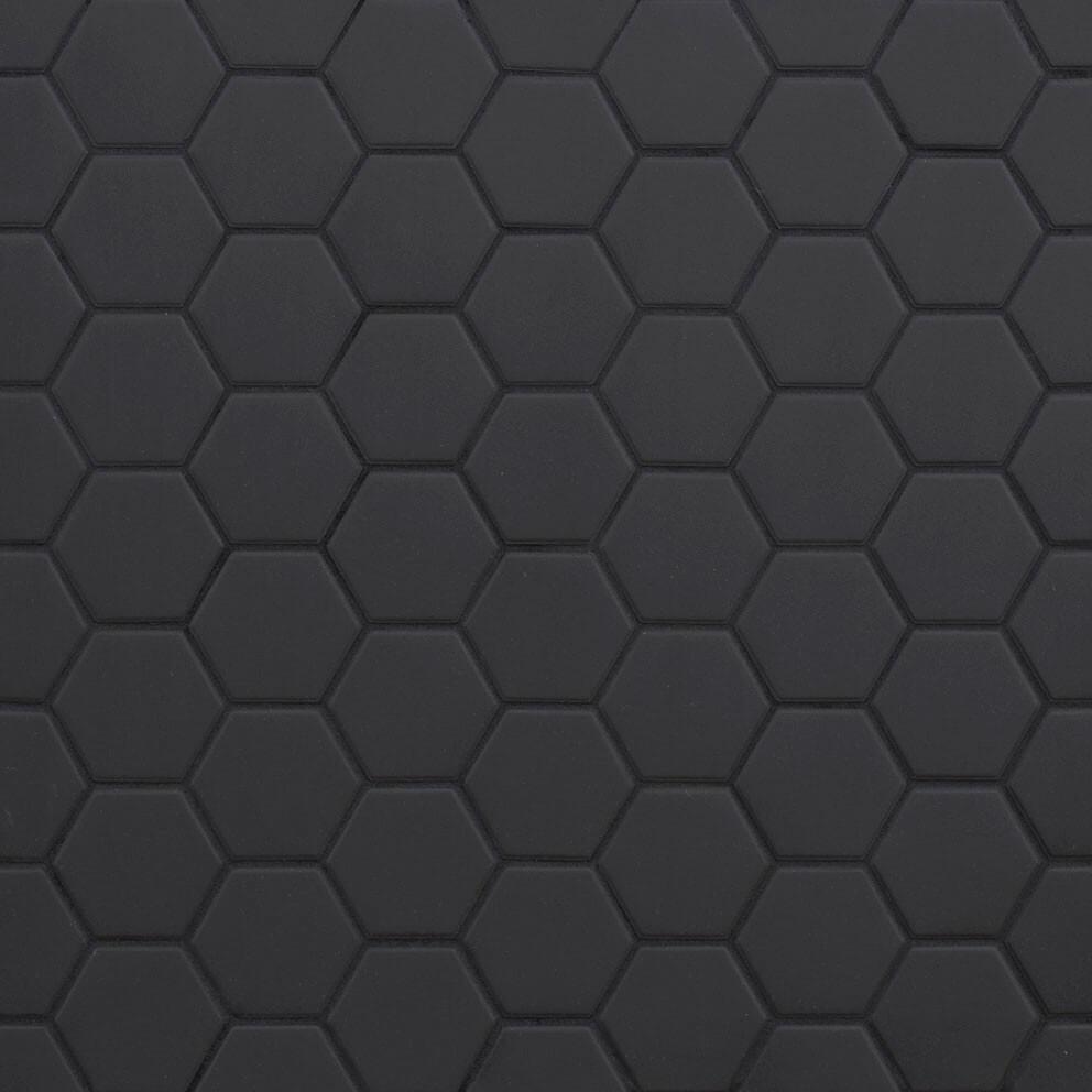 Mosaïque sol et mur Hexagonale noir Black Swan mat 30x30 cm