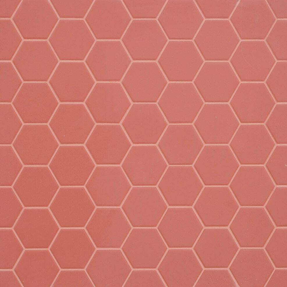 Mosaïque sol et mur Hexagonale rouge Cherry Pie mat 30x30 cm