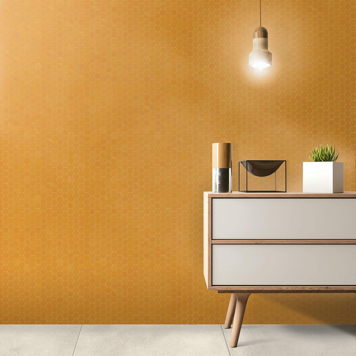Mosaïque sol et mur Hexagonale jaune Yellow Corn mix 30x30 cm