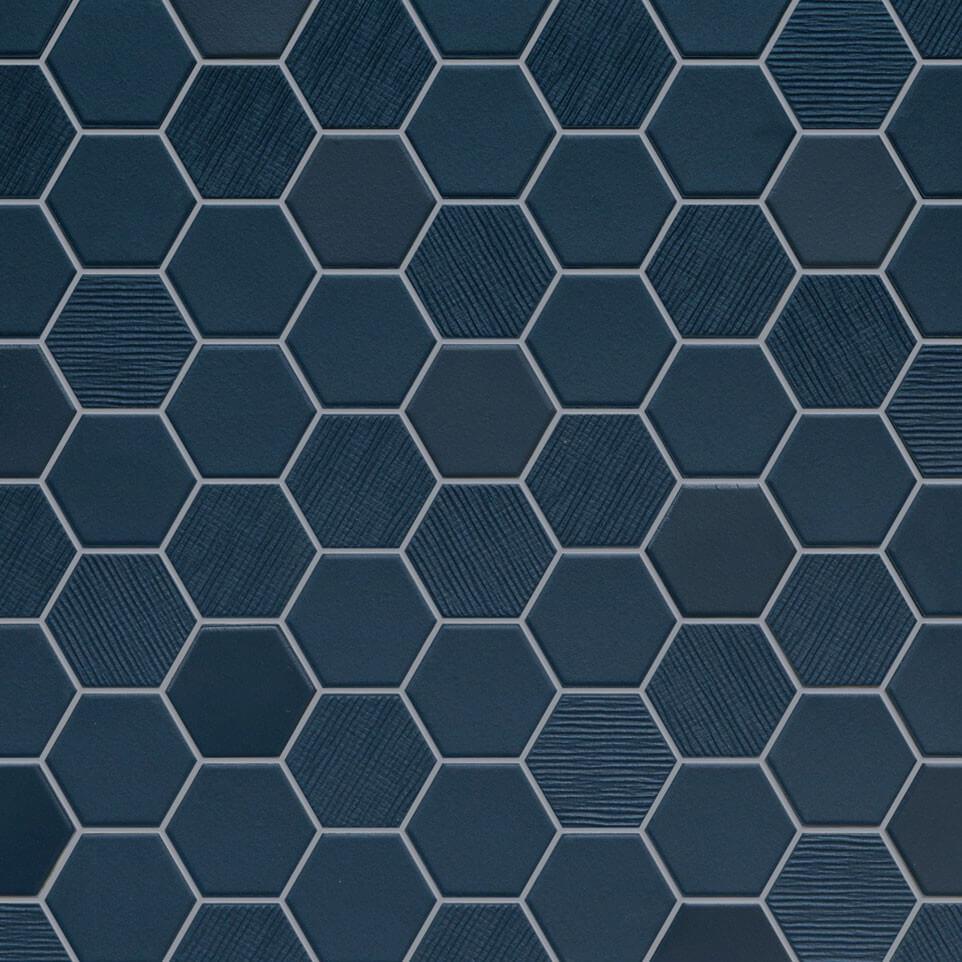 Mosaïque mix sol et mur Hexagonale bleu Deep Navy 30x30 cm