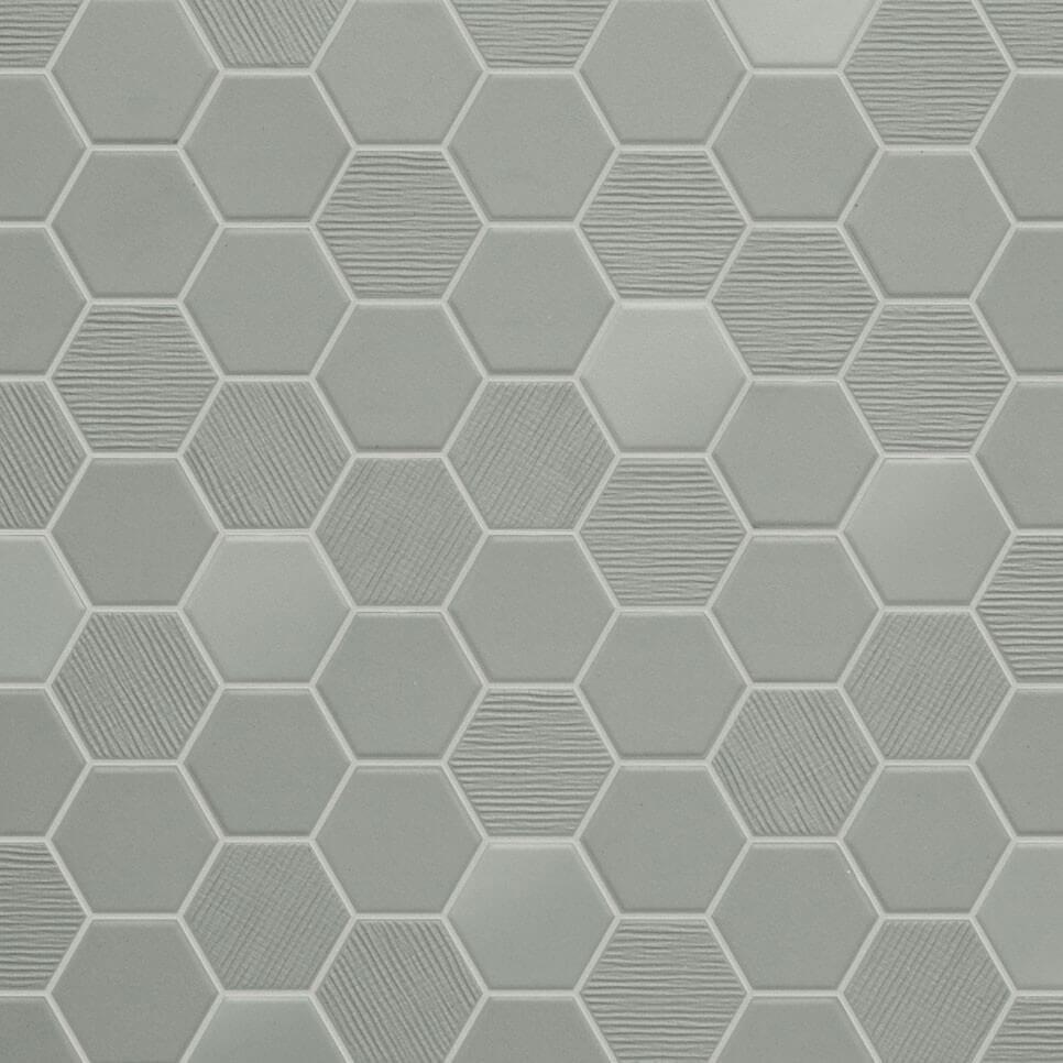 Mosaïque mix sol et mur Hexagonale taupe Wild Sage 30x30 cm