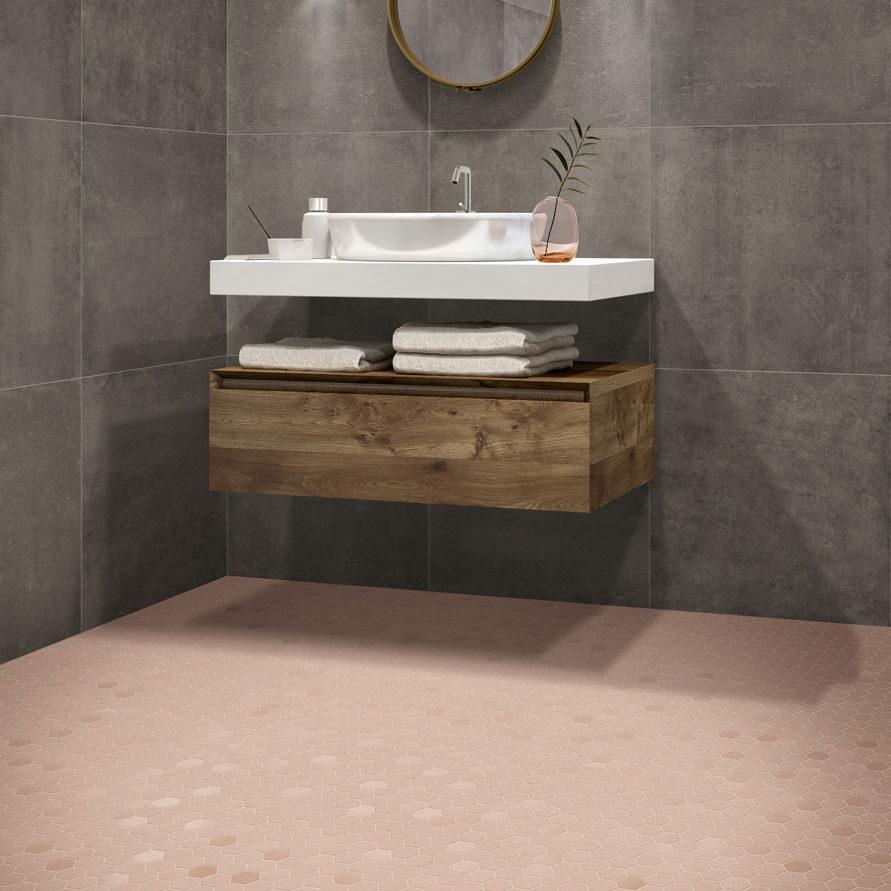 Mosaïque mix sol et mur Hexagonale rose Rosy Blush 30x30 cm
