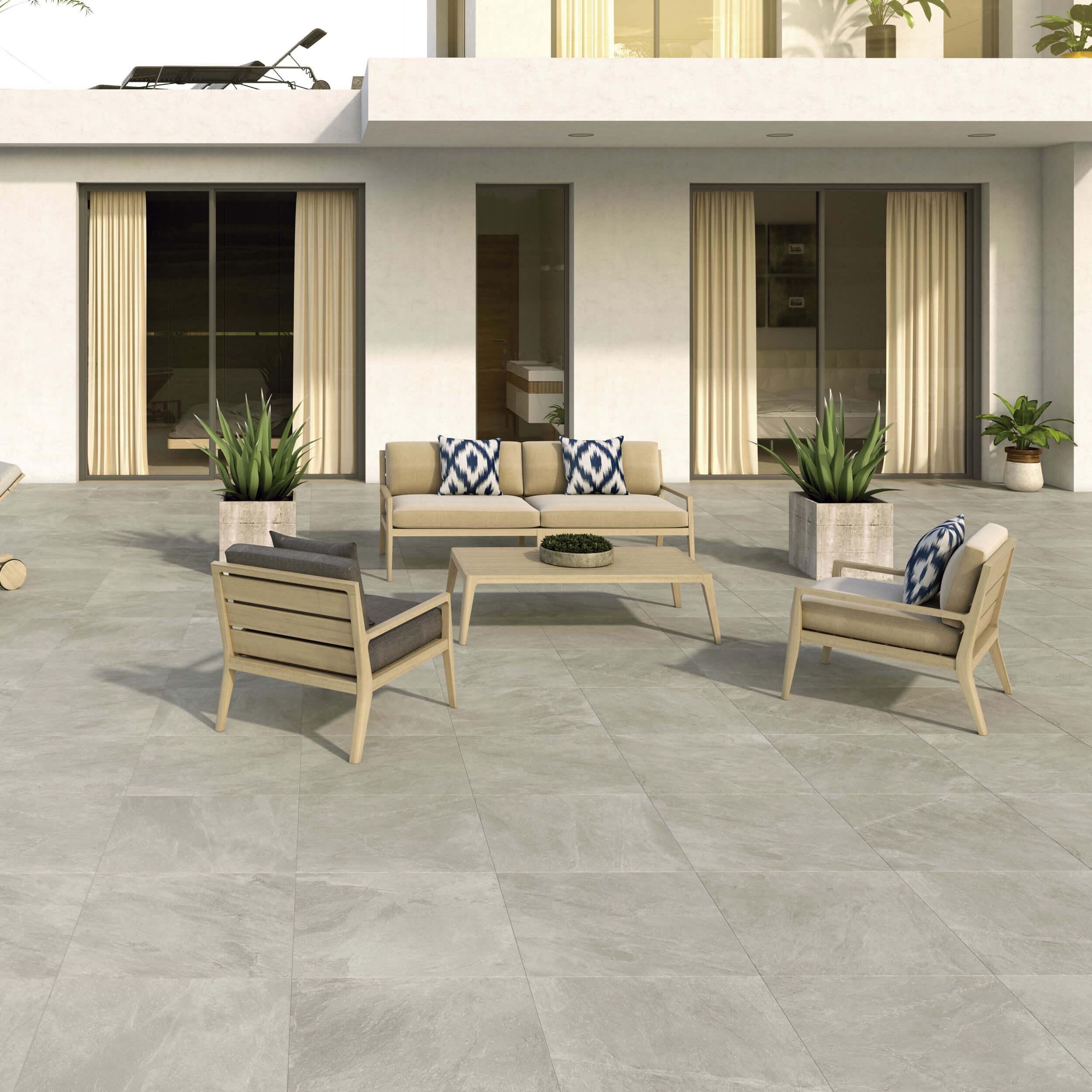 Carrelage sol et mur antidérapant aspect pierre Slate Rock Bone 60x60 cm